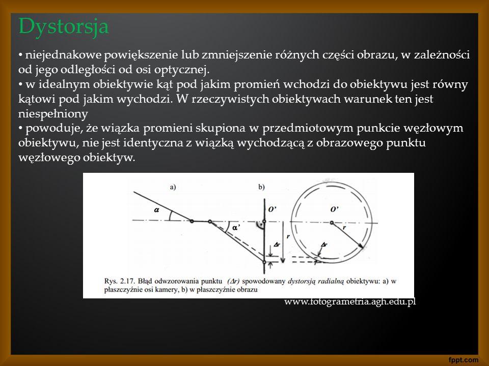 Dystorsja niejednakowe powiększenie lub zmniejszenie różnych części obrazu, w zależności od jego odległości od osi optycznej. w idealnym obiektywie ką