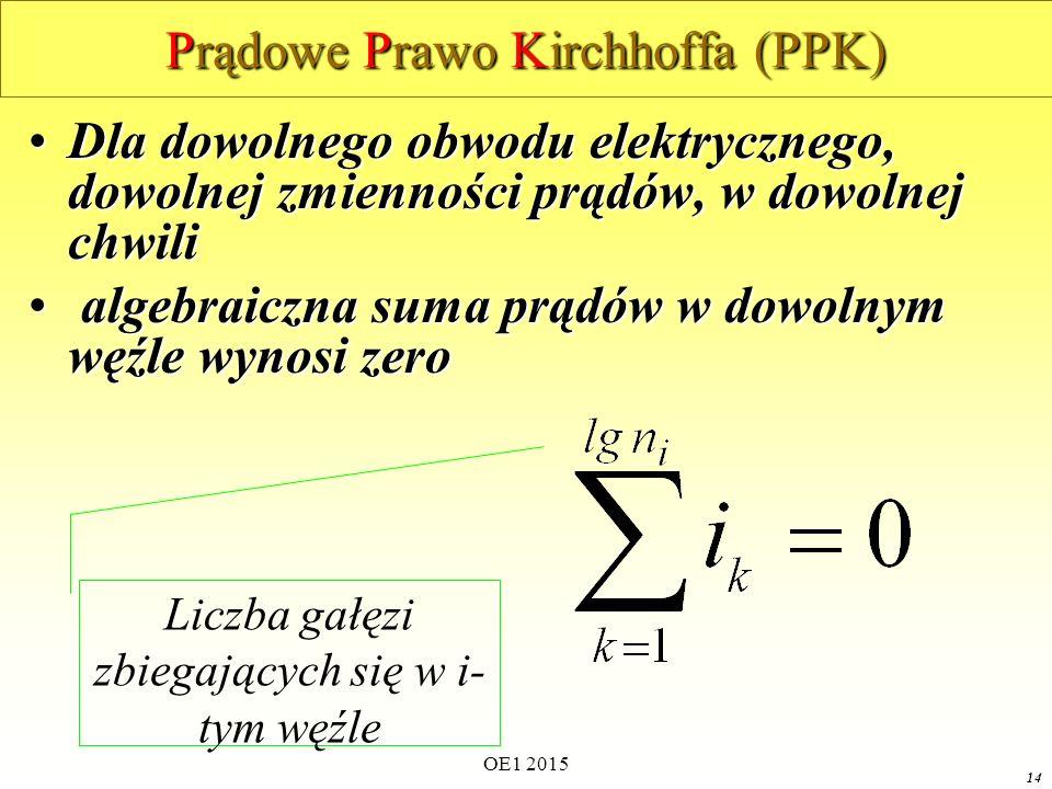 OE1 2015 14 Prądowe Prawo Kirchhoffa (PPK) Dla dowolnego obwodu elektrycznego, dowolnej zmienności prądów, w dowolnej chwiliDla dowolnego obwodu elektrycznego, dowolnej zmienności prądów, w dowolnej chwili algebraiczna suma prądów w dowolnym węźle wynosi zero algebraiczna suma prądów w dowolnym węźle wynosi zero Liczba gałęzi zbiegających się w i- tym węźle