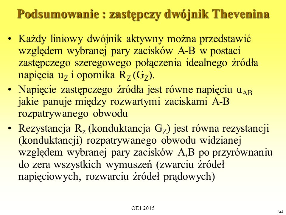 OE1 2015 148 Podsumowanie : zastępczy dwójnik Thevenina Każdy liniowy dwójnik aktywny można przedstawić względem wybranej pary zacisków A-B w postaci zastępczego szeregowego połączenia idealnego źródła napięcia u Z i opornika R Z (G Z ).