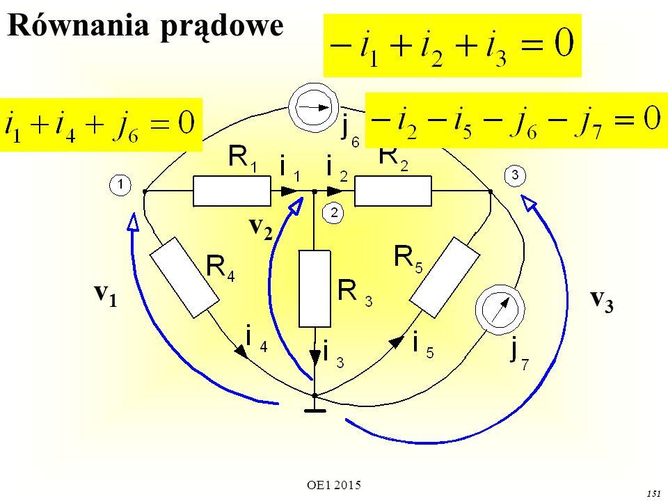 OE1 2015 151 v1v1 v3v3 v2v2 Równania prądowe