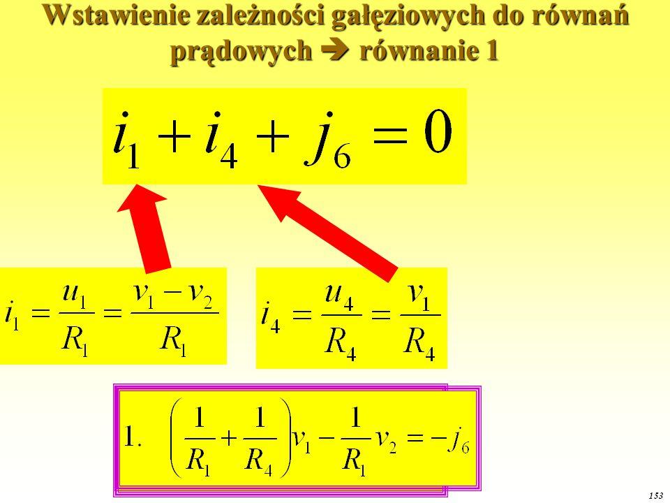 OE1 2015 153 Wstawienie zależności gałęziowych do równań prądowych  równanie 1
