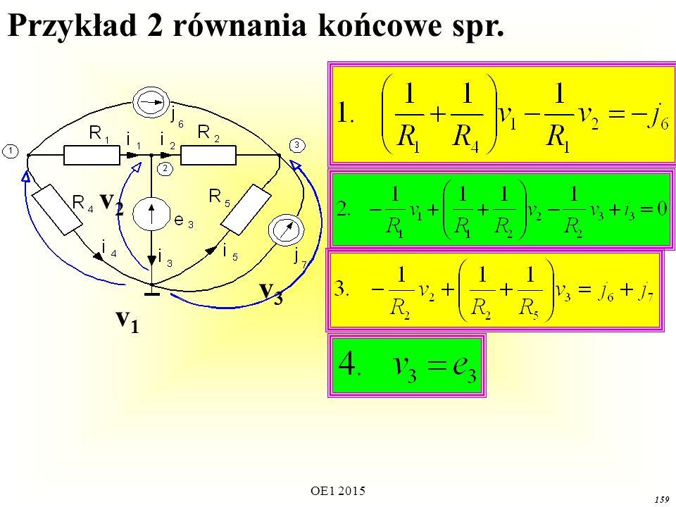 OE1 2015 159 v1v1 v3v3 v2v2 Przykład 2 równania końcowe spr.