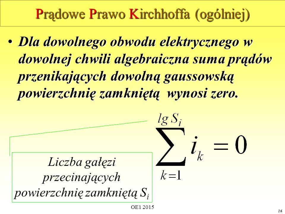 OE1 2015 16 Prądowe Prawo Kirchhoffa (ogólniej) Dla dowolnego obwodu elektrycznego w dowolnej chwili algebraiczna suma prądów przenikających dowolną gaussowską powierzchnię zamkniętą wynosi zero.Dla dowolnego obwodu elektrycznego w dowolnej chwili algebraiczna suma prądów przenikających dowolną gaussowską powierzchnię zamkniętą wynosi zero.