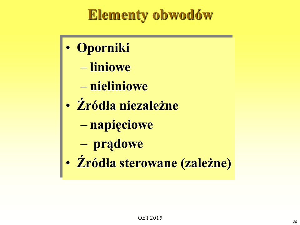 OE1 2015 26 Elementy obwodów OpornikiOporniki –liniowe –nieliniowe Źródła niezależneŹródła niezależne –napięciowe – prądowe Źródła sterowane (zależne)Źródła sterowane (zależne) OpornikiOporniki –liniowe –nieliniowe Źródła niezależneŹródła niezależne –napięciowe – prądowe Źródła sterowane (zależne)Źródła sterowane (zależne)
