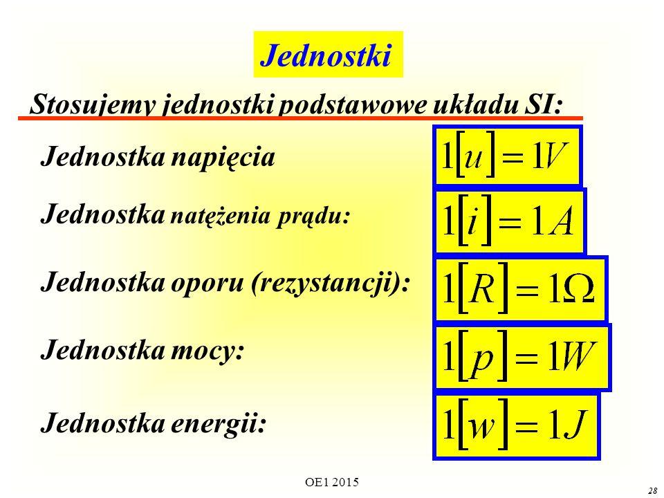 Jednostki Jednostka napięcia Jednostka natężenia prądu: Jednostka oporu (rezystancji): Jednostka mocy: Stosujemy jednostki podstawowe układu SI: Jednostka energii: 28 OE1 2015