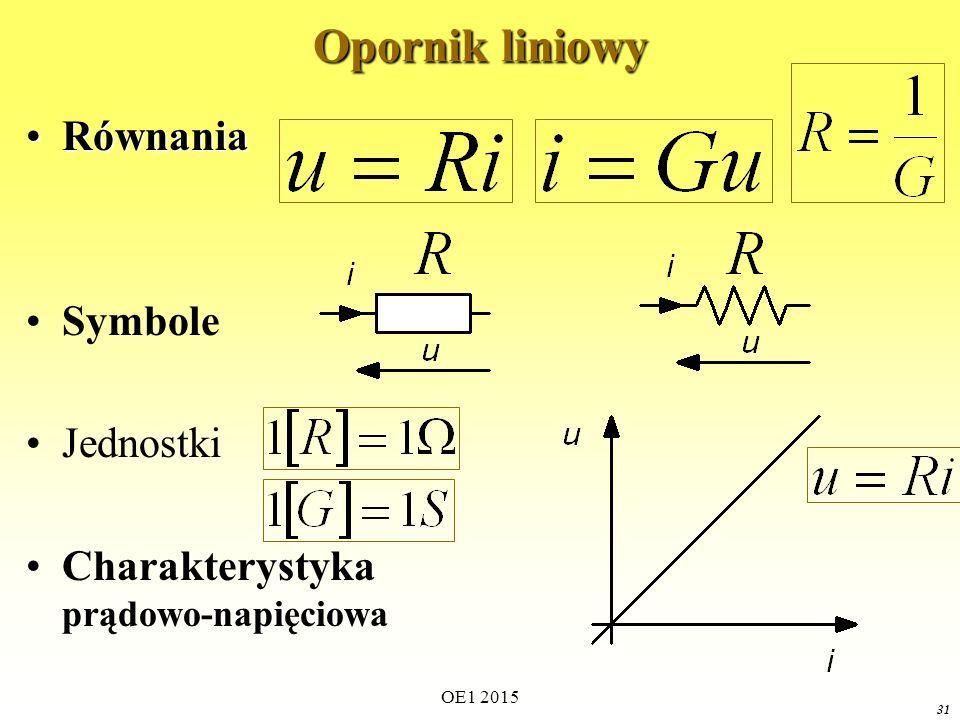 31 Opornik liniowy RównaniaRównania Symbole Jednostki Charakterystyka prądowo-napięciowa