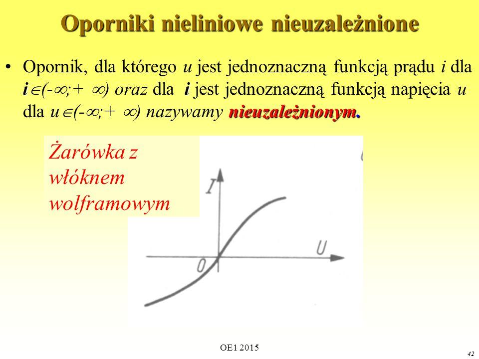 OE1 2015 42 Oporniki nieliniowe nieuzależnione ii nieuzależnionym.Opornik, dla którego u jest jednoznaczną funkcją prądu i dla i  (-  ;+  ) oraz dla i jest jednoznaczną funkcją napięcia u dla u  (-  ;+  ) nazywamy nieuzależnionym.