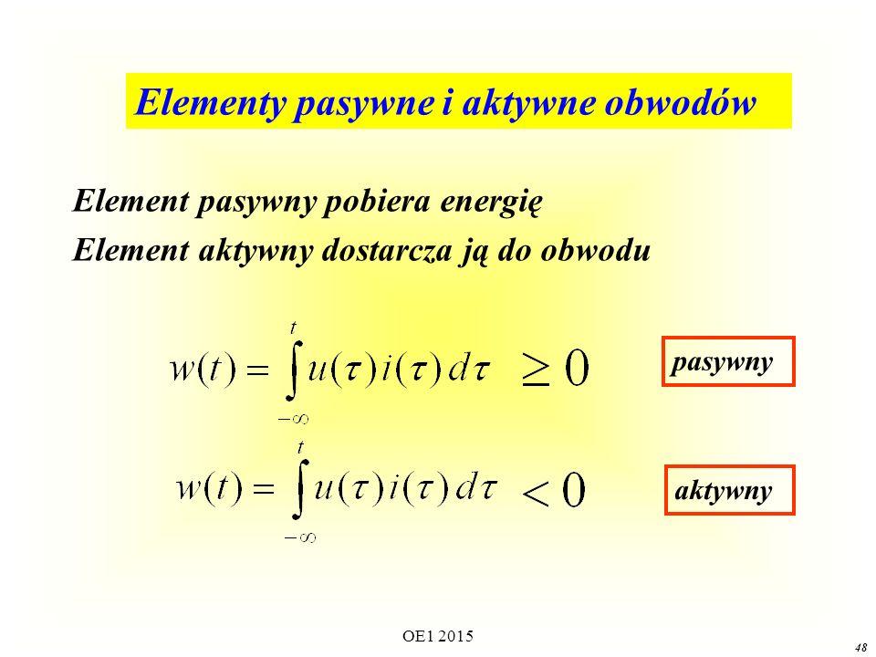 Elementy pasywne i aktywne obwodów Element pasywny pobiera energię Element aktywny dostarcza ją do obwodu pasywny aktywny 48 OE1 2015