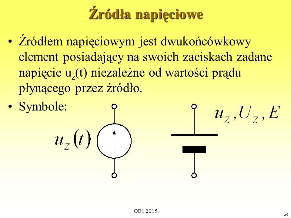 49 Źródła napięciowe Źródłem napięciowym jest dwukońcówkowy element posiadający na swoich zaciskach zadane napięcie u z (t) niezależne od wartości prądu płynącego przez źródło.