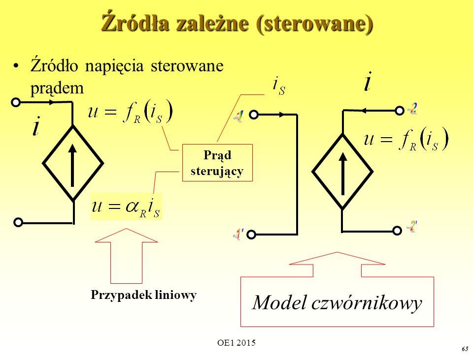 OE1 2015 65 Źródła zależne (sterowane) Źródło napięcia sterowane prądem Prąd sterujący Model czwórnikowy Przypadek liniowy