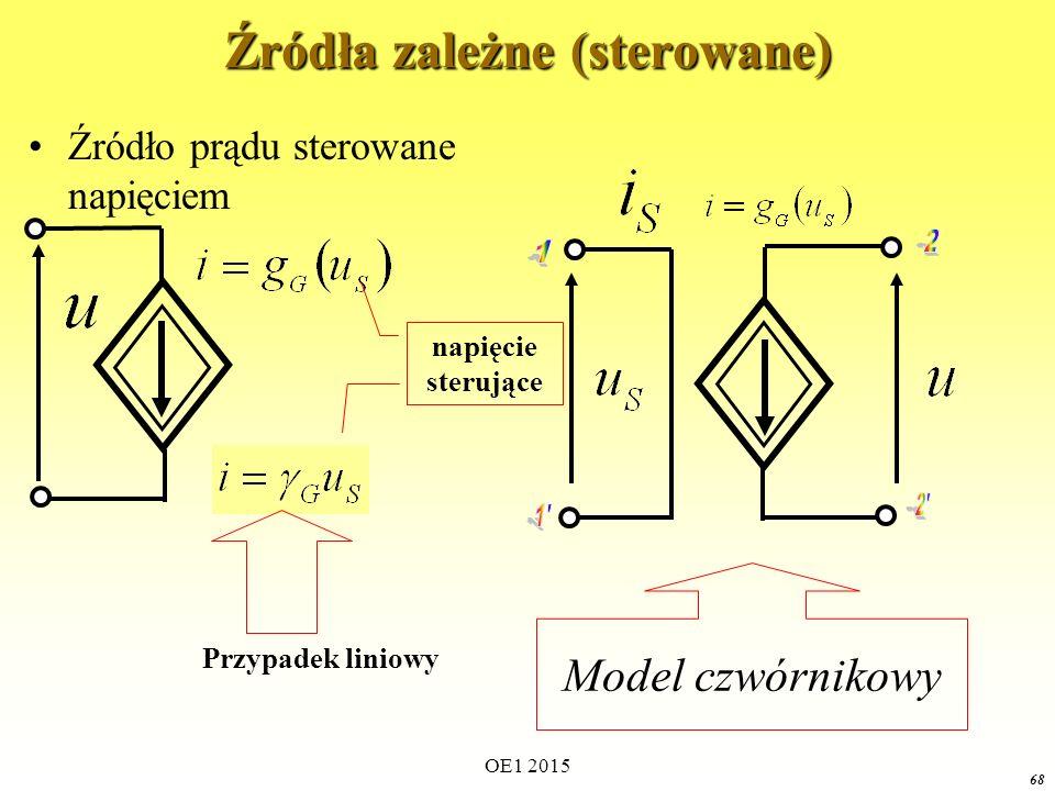 OE1 2015 68 Źródła zależne (sterowane) Źródło prądu sterowane napięciem napięcie sterujące Model czwórnikowy Przypadek liniowy