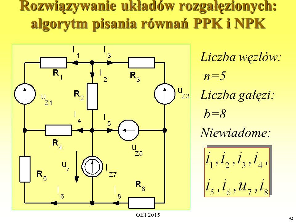OE1 2015 98 Rozwiązywanie układów rozgałęzionych: algorytm pisania równań PPK i NPK Liczba węzłów: n=5 Liczba gałęzi: b=8 Niewiadome: