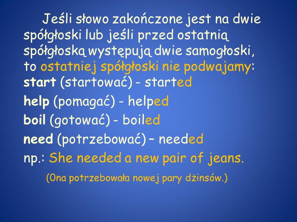 Jeśli słowo zakończone jest na dwie spółgłoski lub jeśli przed ostatnią spółgłoską występują dwie samogłoski, to ostatniej spółgłoski nie podwajamy: s
