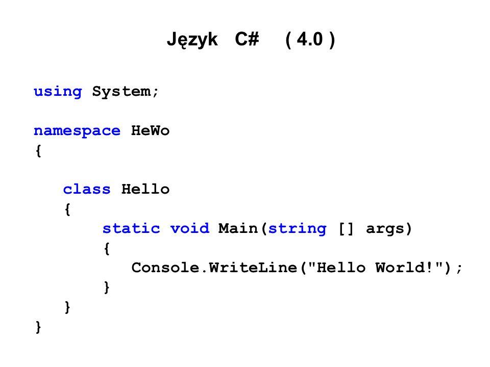 Łańcuchy znaków UNICODE (UTF - 16)  string  typ referencyjny  zawartość łańcucha niezmienna  dziedziczy z typu System.String Length, Concat, CompareTo, Copy, Insert, PadLeft, PadRight, Remove, Replace, ToLower, ToUpper, Format =, +, ==, !=, [ ] string Nap1, Nap2 = dobry napis ; Nap1 = Nap2 ;// nowa referencja Nap1 = Nap2.ToUpper( ); // nowy łańcuch