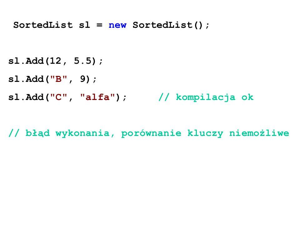 SortedList sl = new SortedList(); sl.Add(12, 5.5); sl.Add( B , 9); sl.Add( C , alfa );// kompilacja ok // błąd wykonania, porównanie kluczy niemożliwe