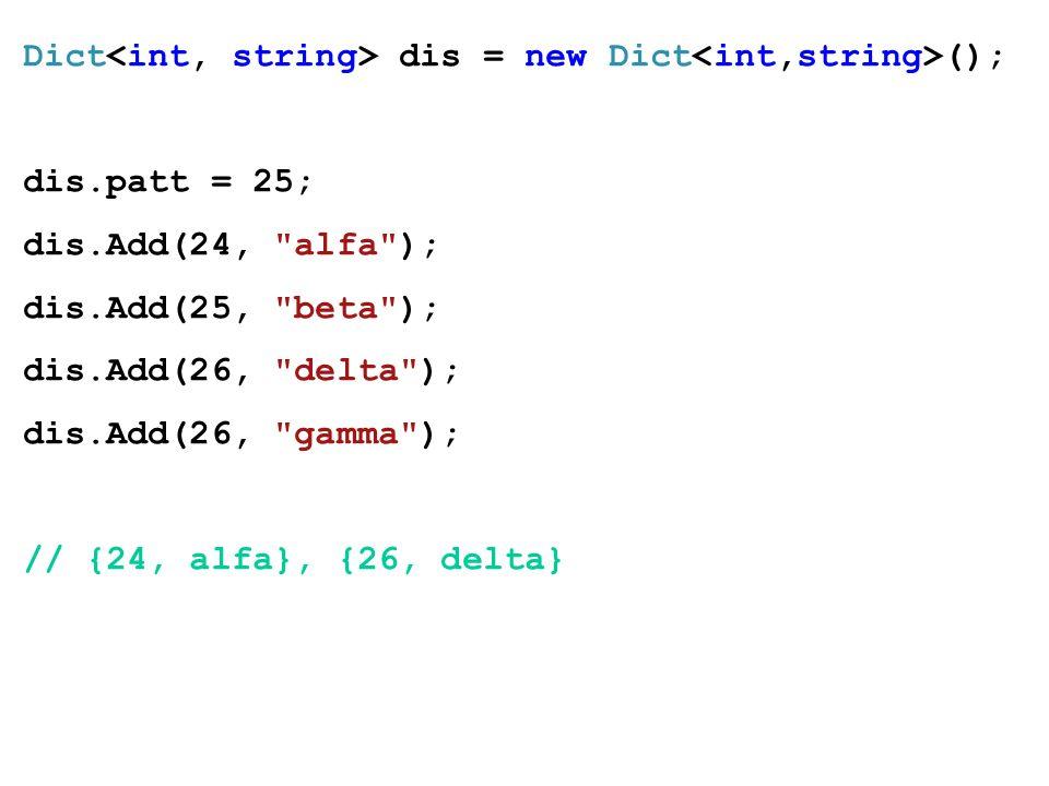 Dict dis = new Dict (); dis.patt = 25; dis.Add(24, alfa ); dis.Add(25, beta ); dis.Add(26, delta ); dis.Add(26, gamma ); // {24, alfa}, {26, delta}