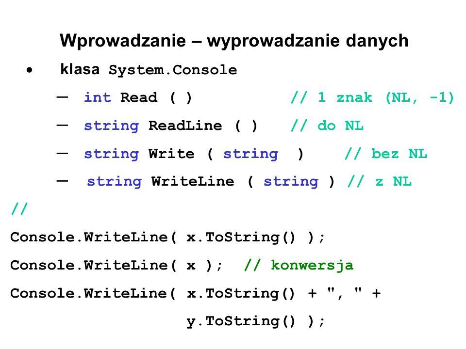 Wprowadzanie – wyprowadzanie danych  klasa System.Console ─ int Read ( ) // 1 znak (NL, -1) ─ string ReadLine ( )// do NL ─ string Write ( string ) // bez NL ─ string WriteLine ( string ) // z NL // Console.WriteLine( x.ToString() ); Console.WriteLine( x );// konwersja Console.WriteLine( x.ToString() + , + y.ToString() );
