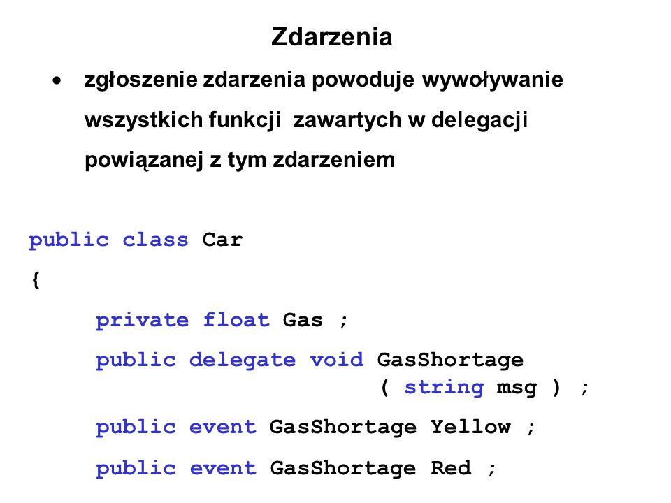 Zdarzenia  zgłoszenie zdarzenia powoduje wywoływanie wszystkich funkcji zawartych w delegacji powiązanej z tym zdarzeniem public class Car { private float Gas ; public delegate void GasShortage ( string msg ) ; public event GasShortage Yellow ; public event GasShortage Red ;