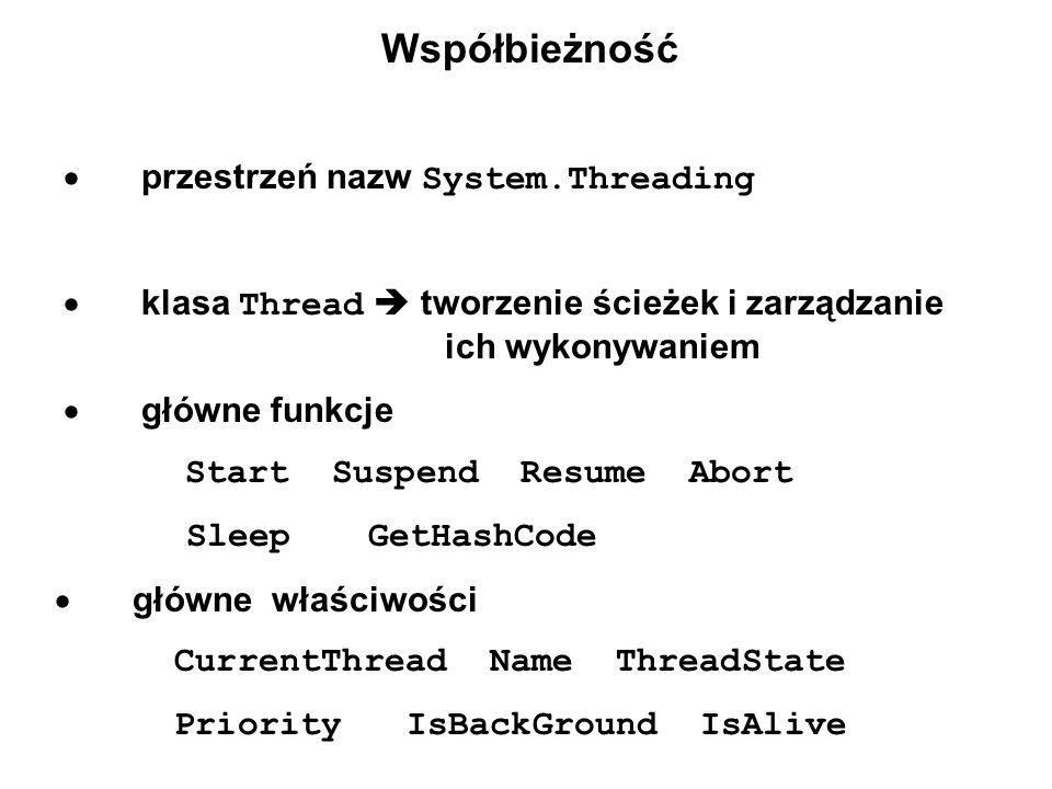 Współbieżność  przestrzeń nazw System.Threading  klasa Thread  tworzenie ścieżek i zarządzanie ich wykonywaniem  główne funkcje  Start Suspend Resume Abort  Sleep GetHashCode  główne właściwości  CurrentThread Name ThreadState  Priority IsBackGround IsAlive