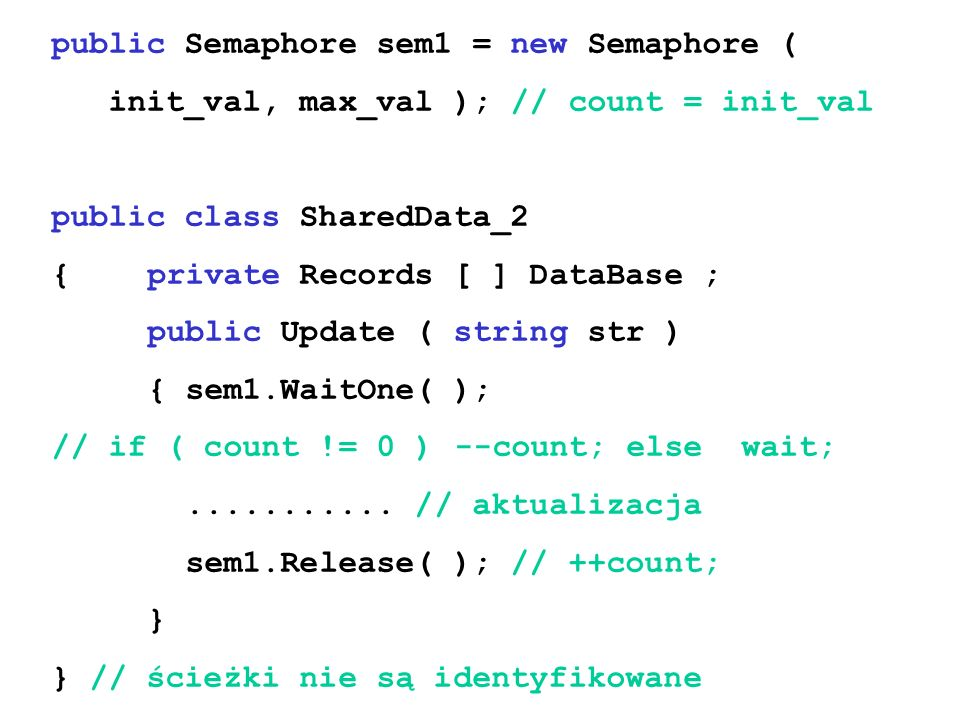public Semaphore sem1 = new Semaphore ( init_val, max_val ); // count = init_val public class SharedData_2 {private Records [ ] DataBase ; public Update ( string str ) { sem1.WaitOne( ); // if ( count != 0 ) --count; else wait;...........