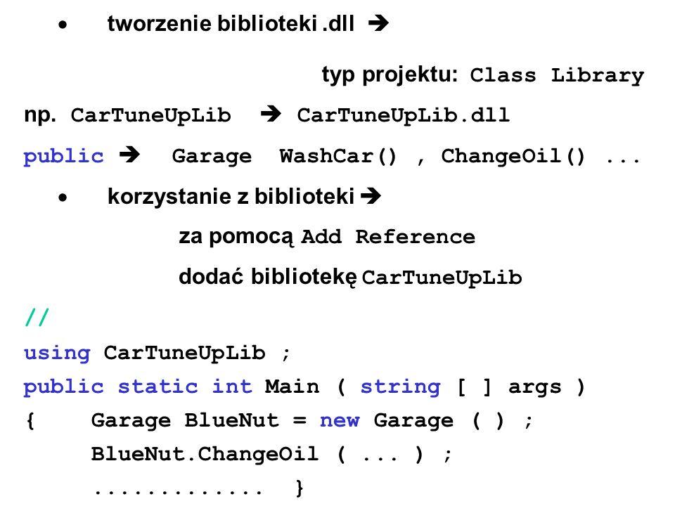  tworzenie biblioteki.dll  typ projektu: Class Library np.