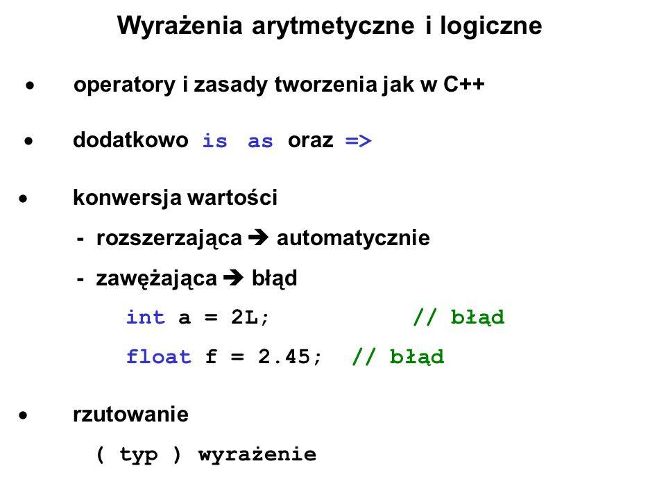 Wyrażenia arytmetyczne i logiczne  operatory i zasady tworzenia jak w C++  dodatkowo is as oraz =>  konwersja wartości  - rozszerzająca  automatycznie  - zawężająca  błąd  int a = 2L; // błąd  float f = 2.45; // błąd  rzutowanie  ( typ ) wyrażenie