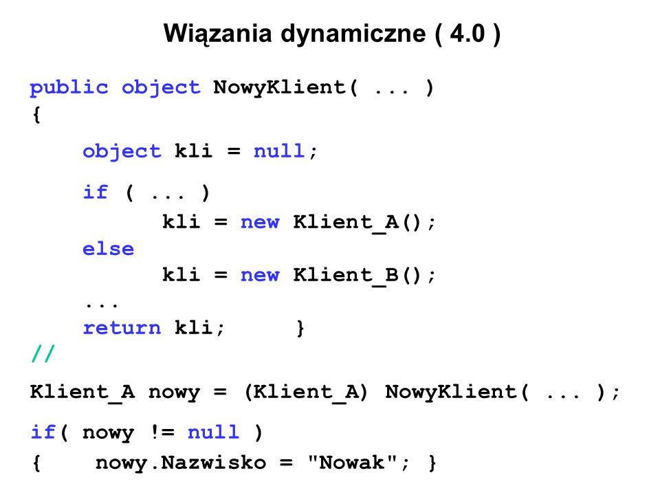 Wiązania dynamiczne ( 4.0 ) public object NowyKlient(...