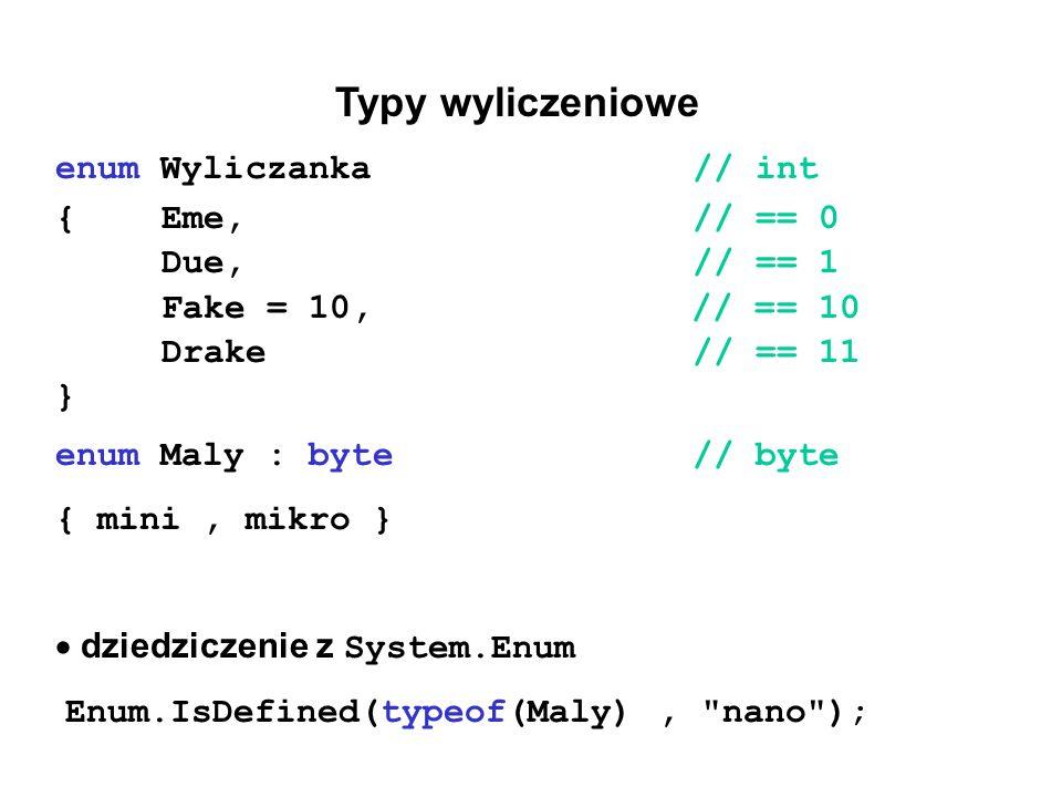 Typy wyliczeniowe enum Wyliczanka // int {Eme,// == 0 Due,// == 1 Fake = 10, // == 10 Drake// == 11 } enum Maly : byte// byte { mini, mikro }  dziedziczenie z System.Enum Enum.IsDefined(typeof(Maly), nano );