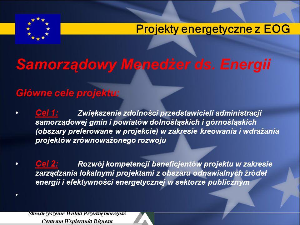 Projekty energetyczne z EOG Dwa projekty finansowane z EOG Mechanizmu Norweskiego 1.