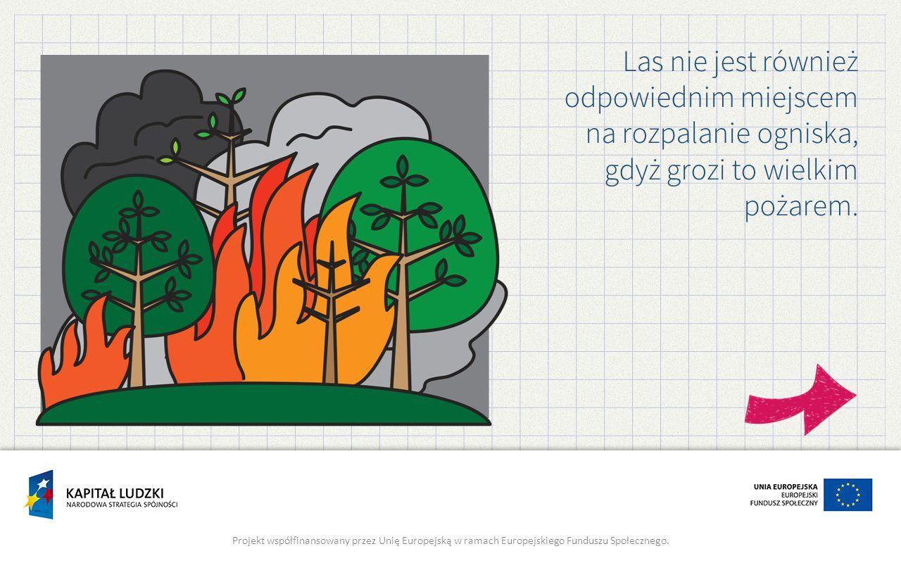 Las nie jest również odpowiednim miejscem na rozpalanie ogniska, gdyż grozi to wielkim pożarem. Projekt współfinansowany przez Unię Europejską w ramac