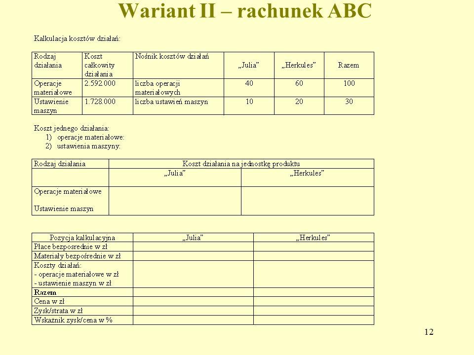 12 Wariant II – rachunek ABC