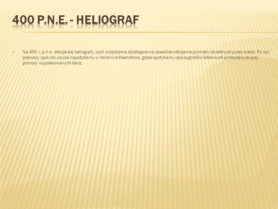  Na 400 r. p.n.e. datuje się heliografy, czyli urządzenia działające na zasadzie odbijania promieni świetlnych przez lustra. Po raz pierwszy opis ich