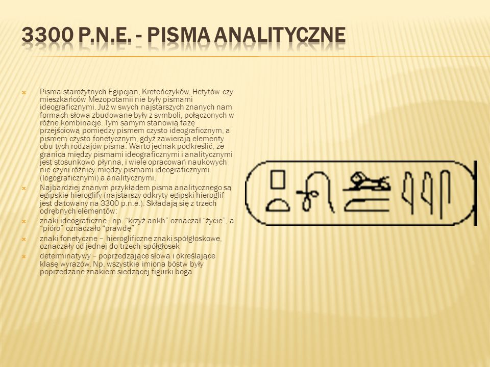  Pisma starożytnych Egipcjan, Kreteńczyków, Hetytów czy mieszkańców Mezopotamii nie były pismami ideograficznymi. Już w swych najstarszych znanych na
