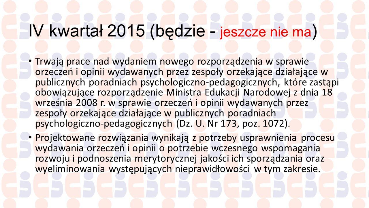 IV kwartał 2015 (będzie - jeszcze nie ma ) Trwają prace nad wydaniem nowego rozporządzenia w sprawie orzeczeń i opinii wydawanych przez zespoły orzeka