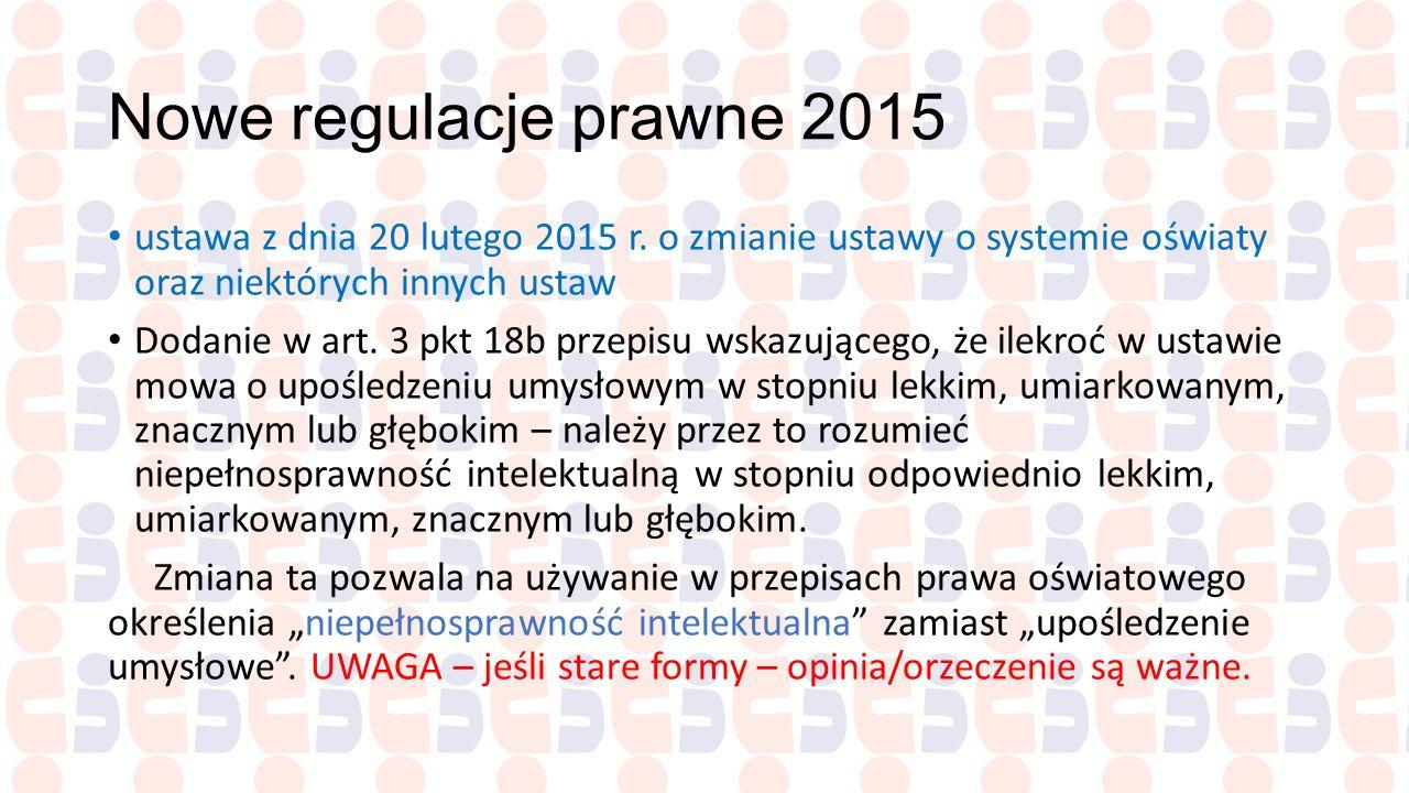 Nowe regulacje prawne 2015 ustawa z dnia 20 lutego 2015 r. o zmianie ustawy o systemie oświaty oraz niektórych innych ustaw Dodanie w art. 3 pkt 18b p