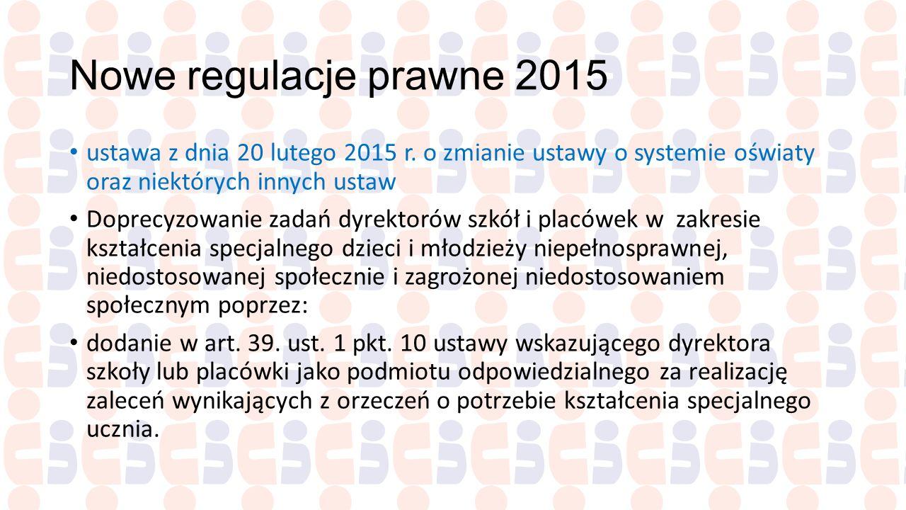 Nowe regulacje prawne 2015 ustawa z dnia 20 lutego 2015 r. o zmianie ustawy o systemie oświaty oraz niektórych innych ustaw Doprecyzowanie zadań dyrek