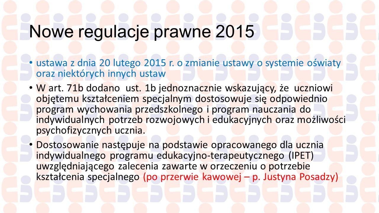 Nowe regulacje prawne 2015 ustawa z dnia 20 lutego 2015 r. o zmianie ustawy o systemie oświaty oraz niektórych innych ustaw W art. 71b dodano ust. 1b
