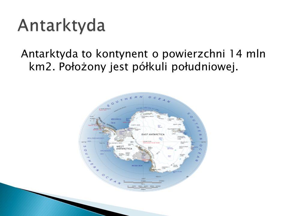 Antarktyda to kontynent o powierzchni 14 mln km2. Położony jest półkuli południowej.