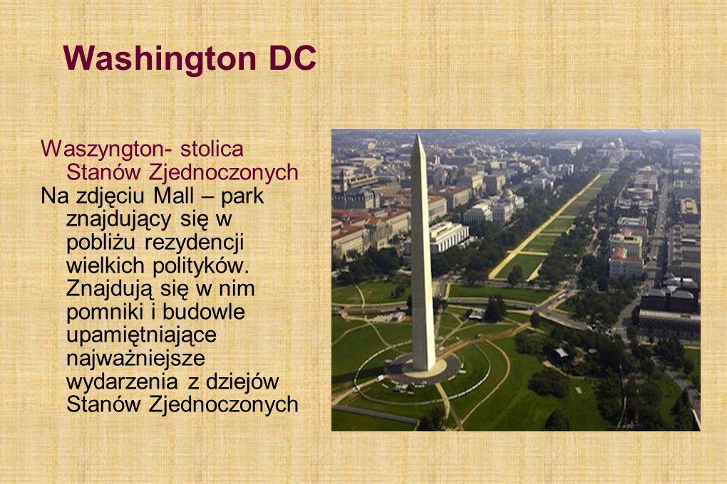 Washington DC Waszyngton- stolica Stanów Zjednoczonych Na zdjęciu Mall – park znajdujący się w pobliżu rezydencji wielkich polityków. Znajdują się w n