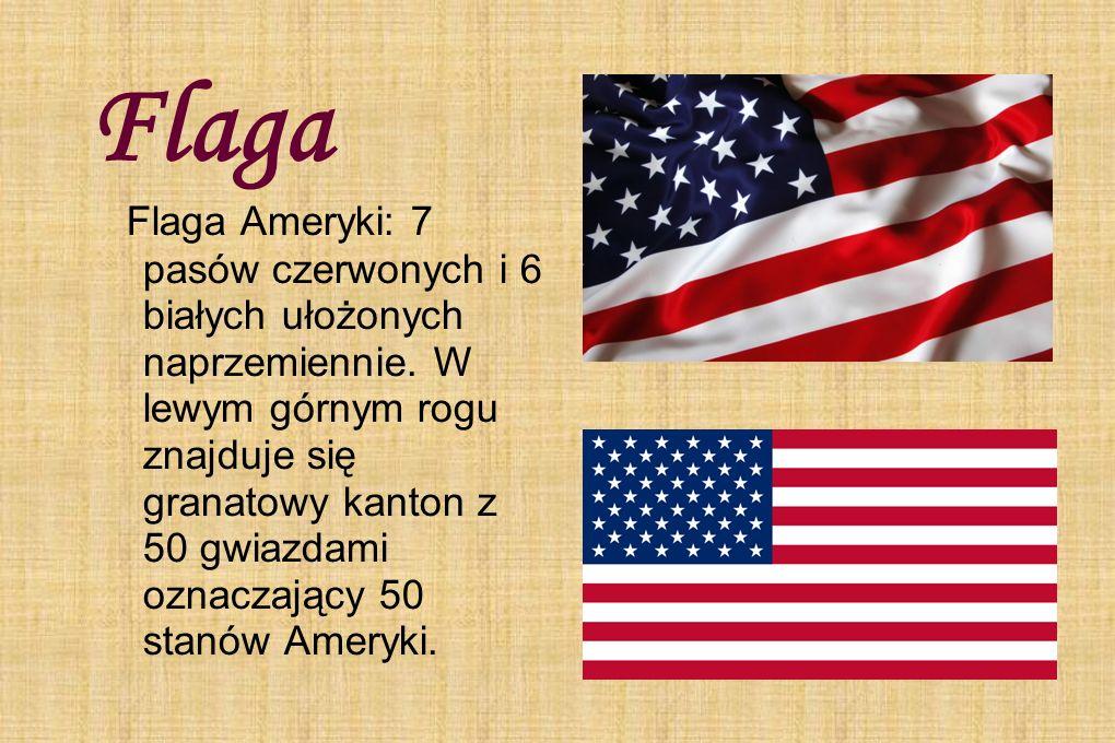Flaga Flaga Ameryki: 7 pasów czerwonych i 6 białych ułożonych naprzemiennie. W lewym górnym rogu znajduje się granatowy kanton z 50 gwiazdami oznaczaj