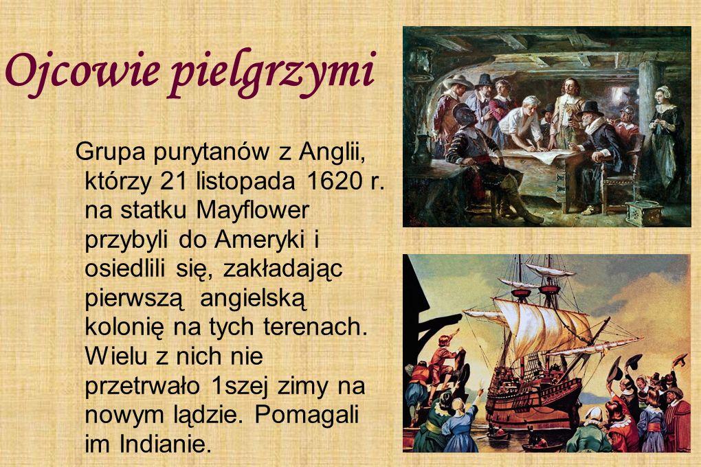 Ojcowie pielgrzymi Grupa purytanów z Anglii, którzy 21 listopada 1620 r. na statku Mayflower przybyli do Ameryki i osiedlili się, zakładając pierwszą