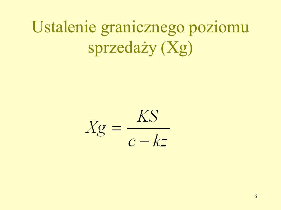 7 Ustalenie granicznego poziomu cen (Cg) x  kz + Ks Cg = ---------------- x Cg = kz + Ks/x