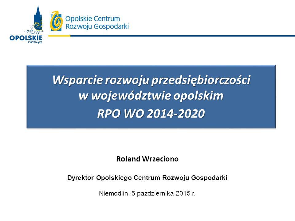 BEZPOŚREDNIE WSPARCIE PRZEDSIĘBIORCZOŚCI W RAMACH RPO WO 2014-2020 Z EFRR (OCRG) Oś priorytetowa Kwota [mln Euro] OP I Innowacje w gospodarce- innowacje w przedsiębiorstwach61,6 OP II Konkurencyjna gospodarka - nowe produkty i usługi w MSP44,9 - współpraca gospodarcza i promocja8,7 OP III Gospodarka niskoemisyjna - odnawialne źródła energii10,4 - efektywność energetyczna w mieszkalnictwie 4,1 - efektywność energetyczna MSP10,0 OP X Inwestycje w infrastrukturę społeczną- infrastruktura usług społecznych23,0 Suma:162,7