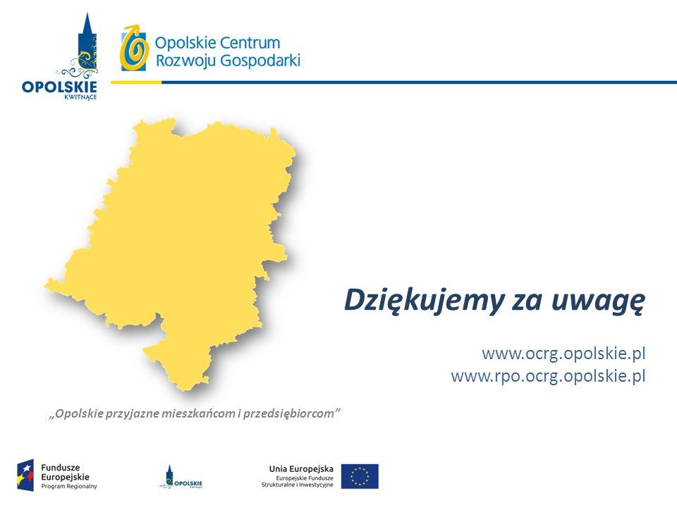 """""""Opolskie przyjazne mieszkańcom i przedsiębiorcom"""" Dziękujemy za uwagę www.ocrg.opolskie.pl www.rpo.ocrg.opolskie.pl"""