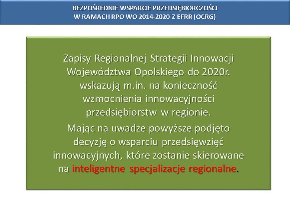 Zapisy Regionalnej Strategii Innowacji Województwa Opolskiego do 2020r. wskazują m.in. na konieczność wzmocnienia innowacyjności przedsiębiorstw w reg
