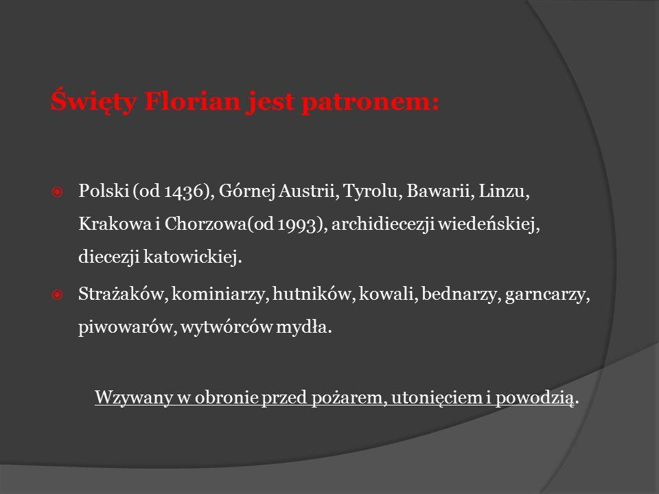 Święty Florian jest patronem:  Polski (od 1436), Górnej Austrii, Tyrolu, Bawarii, Linzu, Krakowa i Chorzowa(od 1993), archidiecezji wiedeńskiej, diec