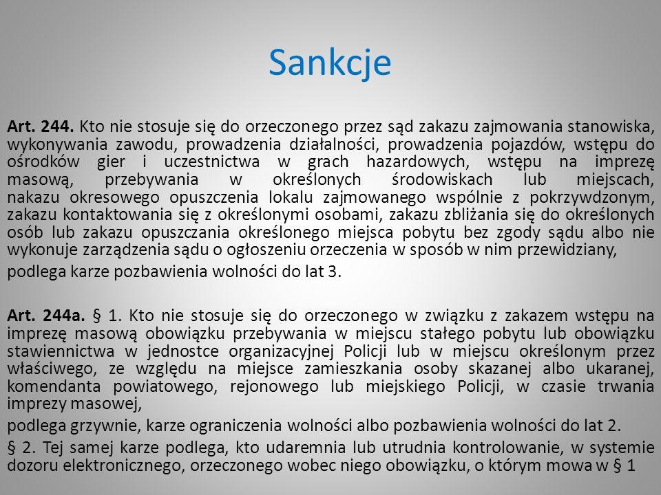 Sankcje Art. 244. Kto nie stosuje się do orzeczonego przez sąd zakazu zajmowania stanowiska, wykonywania zawodu, prowadzenia działalności, prowadzenia