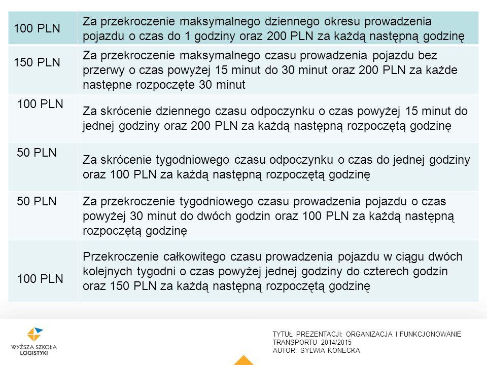 TYTUŁ PREZENTACJI: ORGANIZACJA I FUNKCJONOWANIE TRANSPORTU 2014/2015 AUTOR: SYLWIA KONECKA 24 3000 PLN Za wykonywanie przewozu drogowego pojazdem niewyposażonym w urządzenie rejestrujące 2000 PLN Za podłączenie do urządzenia rejestrującego czas pracy innego, niedozwolonego urządzenia, które niewłaściwie wpływa na funkcjonowanie urządzenia rejestrującego 2000 PLN Za nierejestrowanie za pomocą urządzenia rejestrującego na wykresówce lub karcie kierowcy wskazań urządzenia w zakresie prędkości pojazdu, aktywności kierowcy i przebytej drogi 100 PLN nie więcej niż 1000 PLN Za nieprawidłowe operowanie przełącznikiem urządzenia rejestrującego, umożliwiającym zmianę rodzaju aktywności.