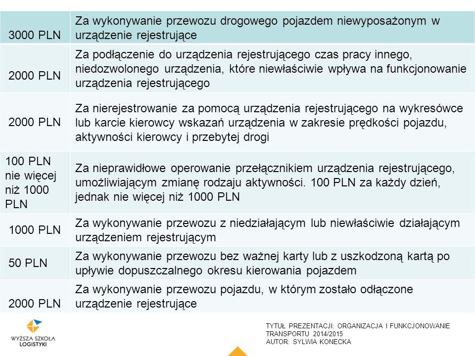 TYTUŁ PREZENTACJI: ORGANIZACJA I FUNKCJONOWANIE TRANSPORTU 2014/2015 AUTOR: SYLWIA KONECKA 24 3000 PLN Za wykonywanie przewozu drogowego pojazdem niew