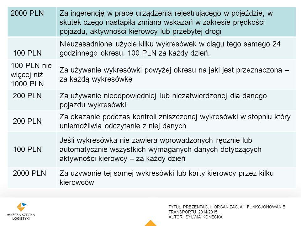 TYTUŁ PREZENTACJI: ORGANIZACJA I FUNKCJONOWANIE TRANSPORTU 2014/2015 AUTOR: SYLWIA KONECKA 25 2000 PLN Za ingerencję w pracę urządzenia rejestrującego